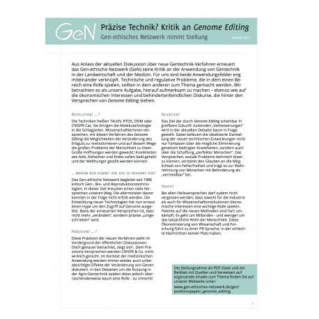 Präzise Technik? Kritik an Genome Editing. Stellungnahme
